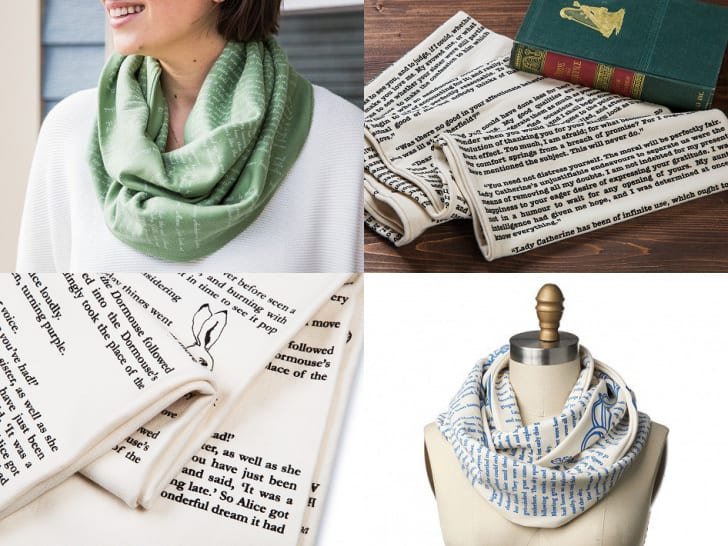 An infinity scarf with text all over it