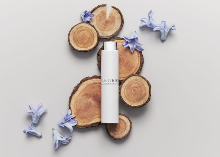 A ScentBird perfume bottle on disks of wood
