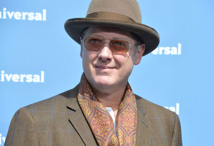 James Spader in a brown hat, wearing brown sunglasses and a brown suit, in front of a blue background.