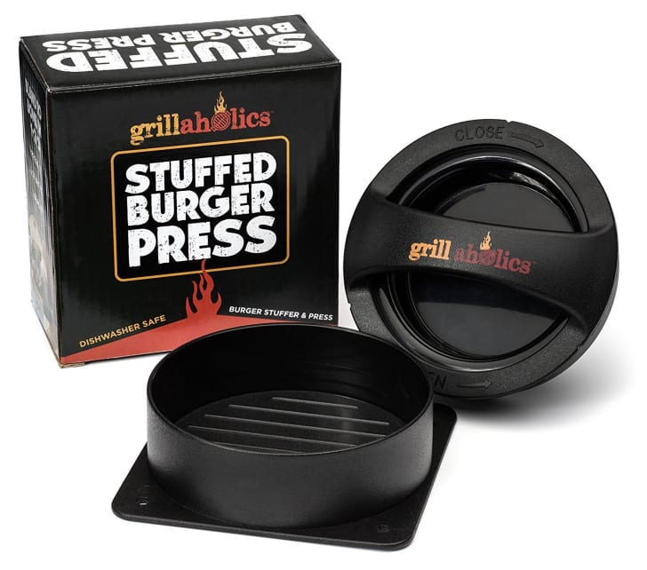 A stuffed burger press