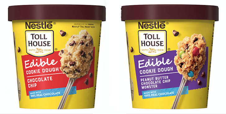 Edible cookie dough in tubs.