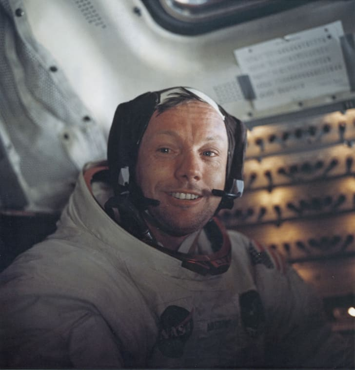 Astronaut Neil Armstrong, Commander of NASA's Apollo 11 lunar landing mission, inside the Lunar Module the 'Eagle' on the surface of the Moon during the mission, 20th July 1969