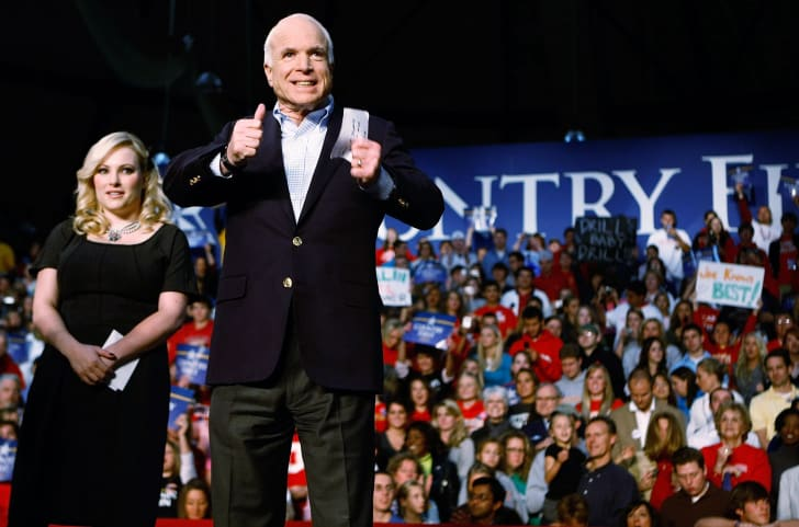 Republican presidential nominee Sen. John McCain and his daughter Meghan McCain at a campaign rally in 2008.