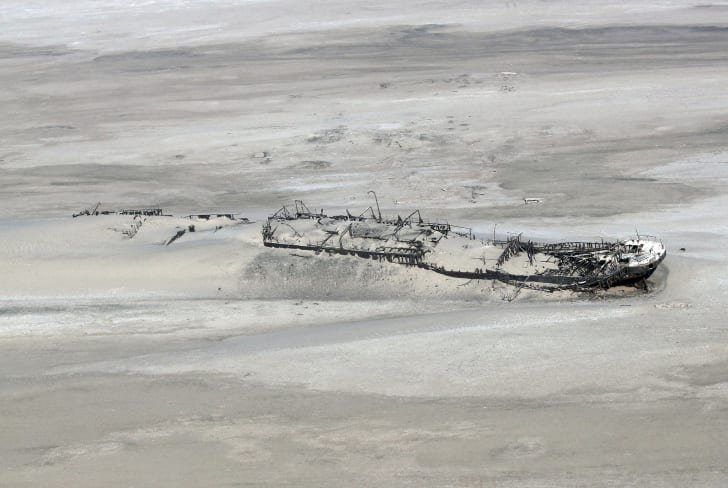Wreck of the ship Eduard Bohlen that ran aground off Namibia's Skeleton Coast