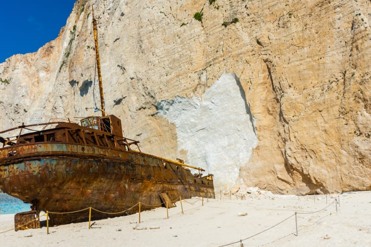 The rusty wreck of the Panagiotis on Zakynthos Island
