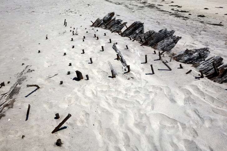 Fire Island shipwreck on white sand