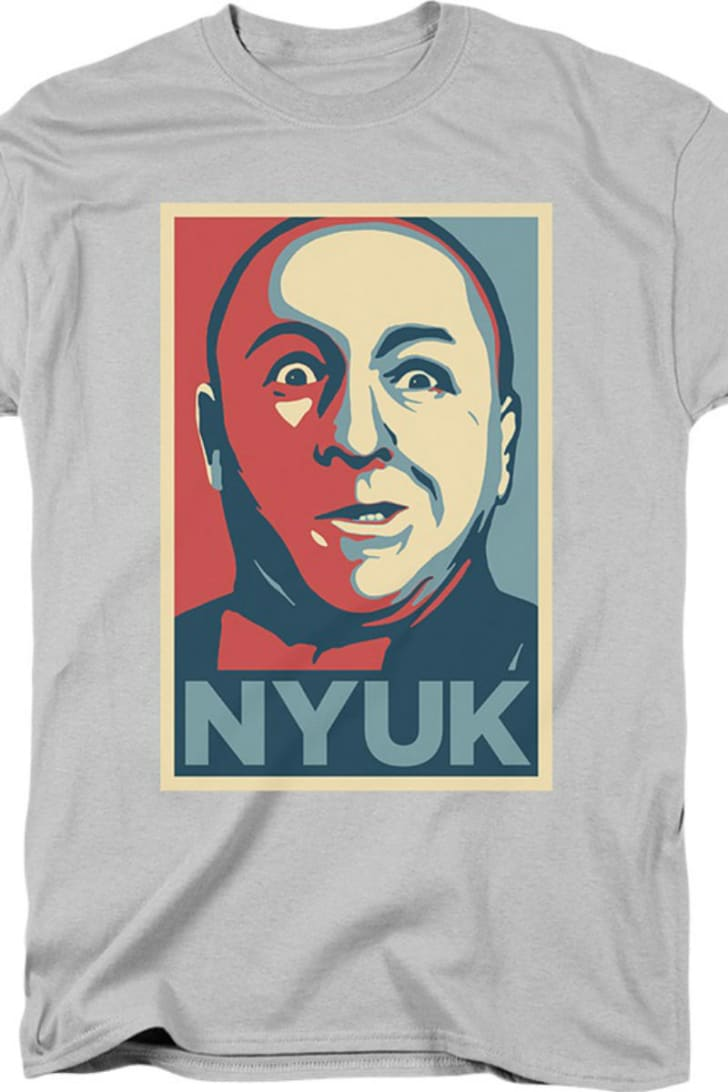 A t-shirt depicting Curly from the Three Stooges is pictured