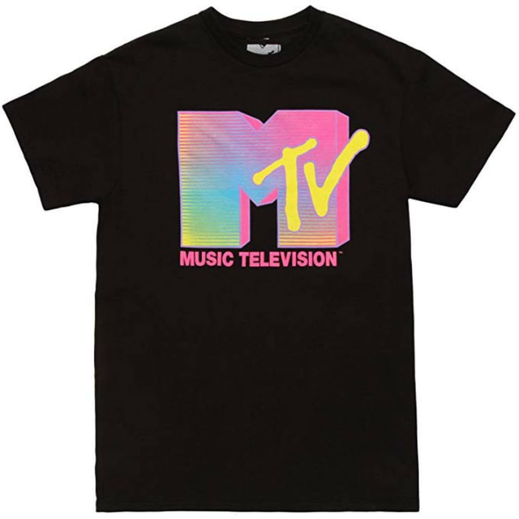 A t-shirt depicting the MTV logo is pictured