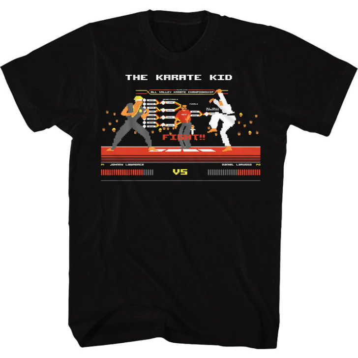 A t-shirt depicting a video game representation of characters from the 1984 film 'The Karate Kid' is pictured