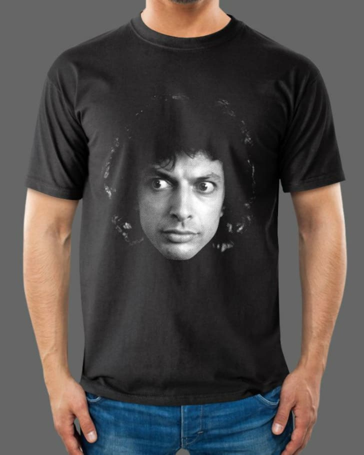 A t-shirt depicting Jeff Goldblum as Seth Brundle in the 1986 film 'The Fly' is pictured