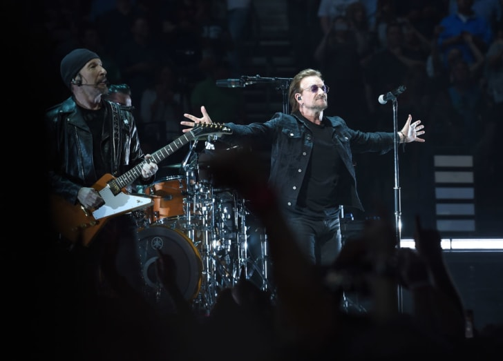 The Edge and Bono of the rock band U2 perform at Bridgestone Arena on May 26, 2018 in Nashville, Tennessee