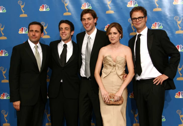 "Actor Steve Carell, actor B.J. Novak, actor John Krasinski, Jenna Fischer, actor Rainn Wilson poses in the press room after winning ""Outstanding Comedy Series"" for ""The Office "" at the 58th Annual Primetime Emmy Awards at the Shrine Auditorium on August"