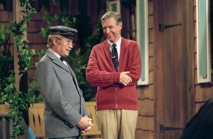 A publciity image of David Newell (L) and Fred Rogers (R) from 'Mister Rogers' Neighborhood' is pictured