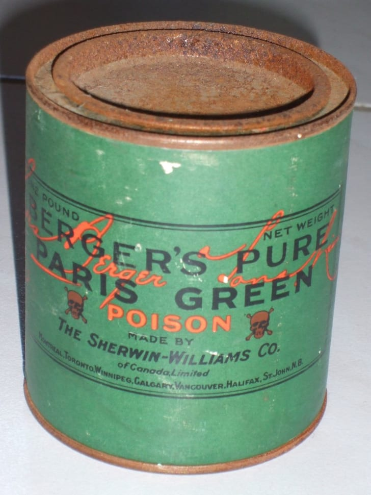 A jar of poisonous Paris Green