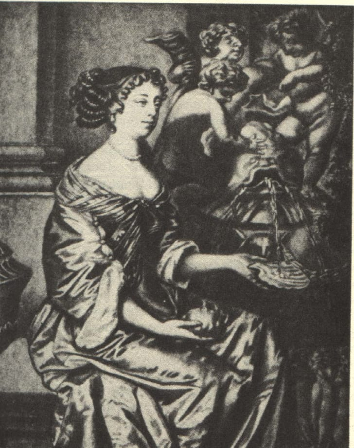 A 17th-century image of Mary Saunderson, an English actress.
