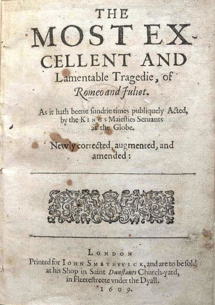 Title page of Romeo and Juliet third quarto printed in London in 1609