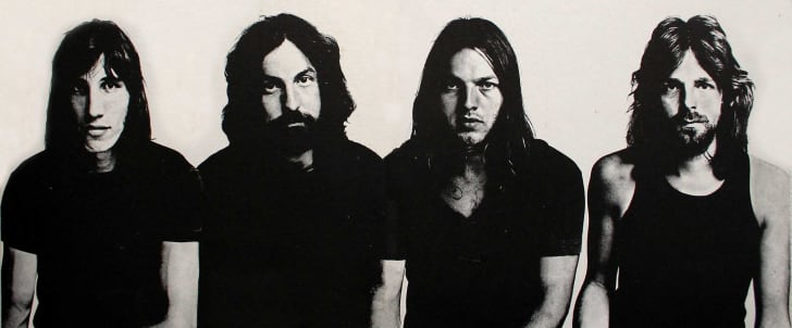 Roger Waters, Nick Mason, David Gilmour and Richard Wright. Trade ad and inside cover for Pink Floyd's album Meddle.