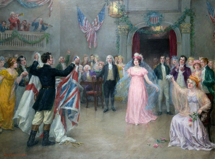 A ball held at the Tomlinson's Hotel in Washington at the presence of President James Madison and First Lady Dolley Madison and Captain Charles Stewart to celebrate the American victory ay the battle of Craney Island, 8th December 1812