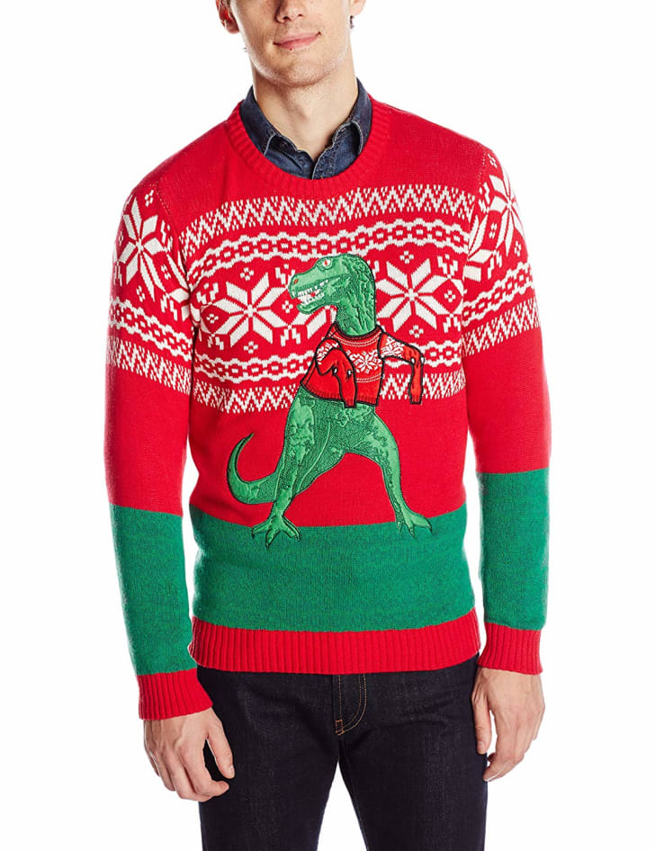 Ugly Christmas Sweater With Dinosaur.