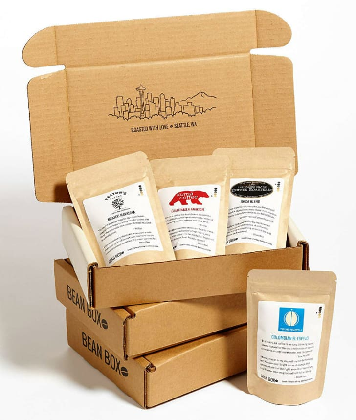 The Bean Box coffee subscription box is pictured