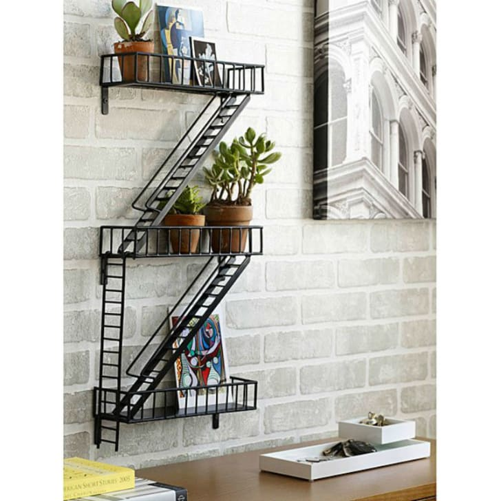 The Fire Escape Shelf from Uncommon Goods is pictured