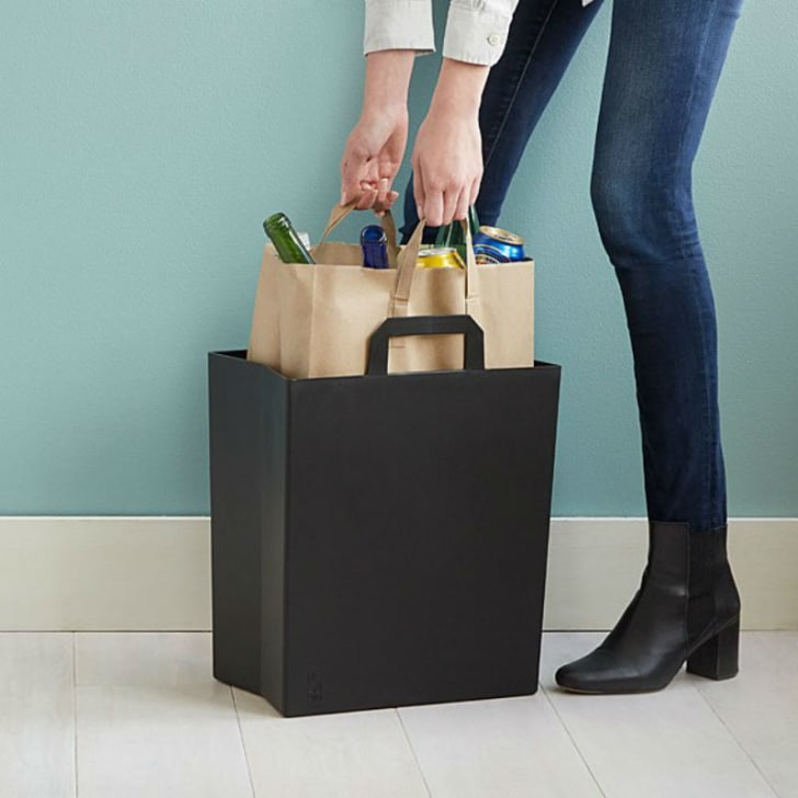 The Paper Bag Recycling Bin from Uncommon Goods is pictured