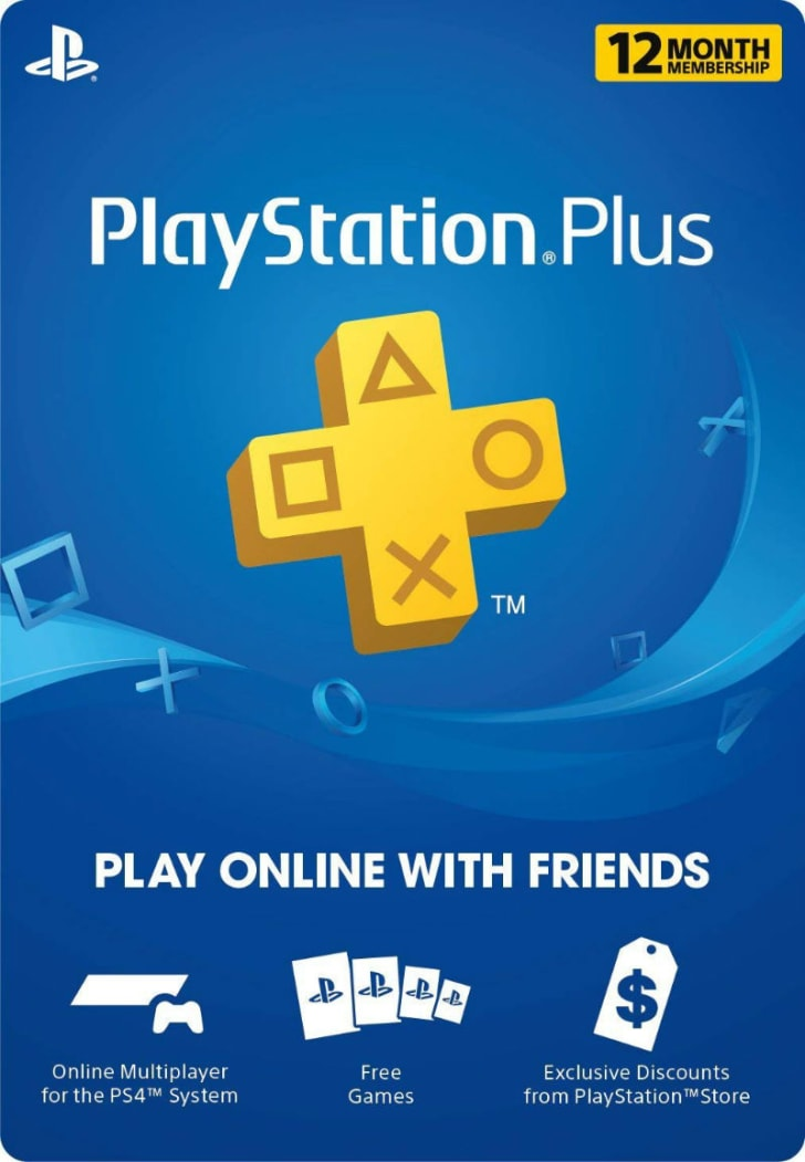 A PlayStation Plus advertisement is pictured