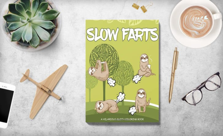 Sloth Farts Coloring Book on Amazon.