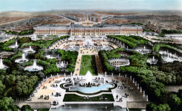 An illustration of the palace of Versailles.