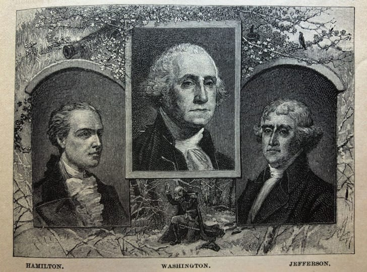 Ink drawings of Alexander Hamilton and Thomas Jefferson on either side of George Washington.