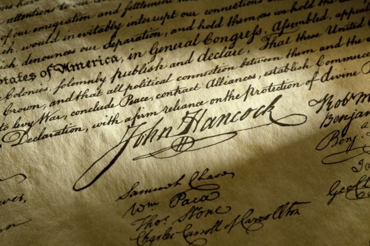 Tight shot of the famous signature of John Hancock on the Declaration of Independence that was signed on July 4th, 1776.