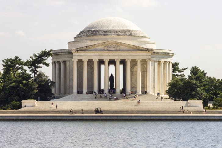 Washington D.C. The Jefferson Memorial, a presidential memorial dedicated to Thomas Jefferson, 3rd President of the United States and one of the most important of the American Founding Fathers