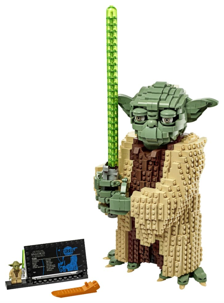 A LEGO Star Wars Yoda set is pictured