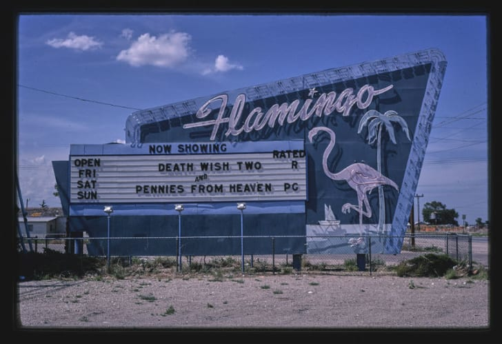 The Flamingo Drive-In Theater in Hobbs, New Mexico is pictured