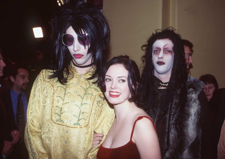 "Marilyn Manson with Rose McGowan at the premiere of ""Alien Resurrection."""