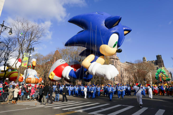 The Sonic the Hedgehog balloon is seen during the 87th Annual Macy's Thanksgiving Day Parade on November 28, 2013 in New York City.