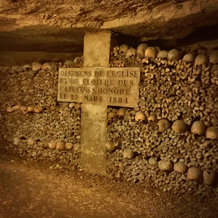 Inside the Paris catacombs