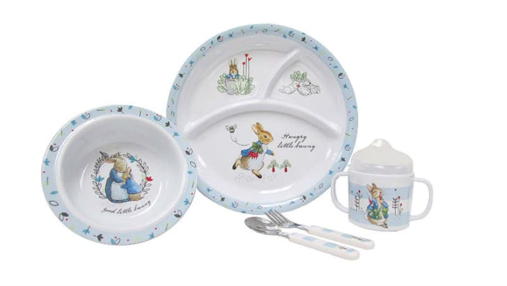 A Peter Rabbit dinnerware set is pictured