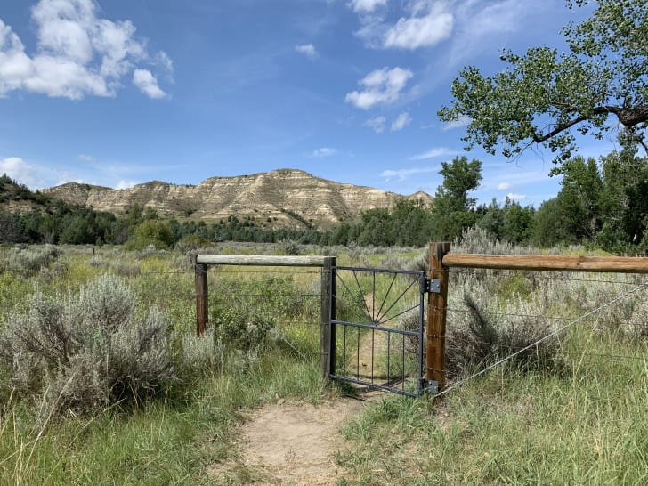 A gate in front of the site of Theodore Roosevelt's Elkhorn Ranch site.