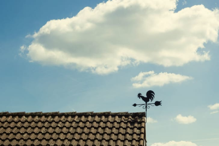 A weathervane is mounted on the roof of a house