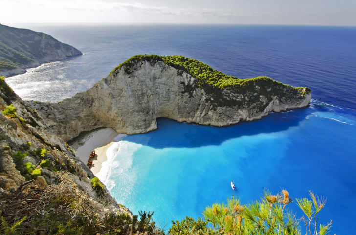 Aerial view of Navagio Beach in Zakynthos, Greece