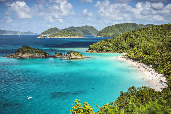 Aerial view of Trunk Bay in St John in United States Virgin Islands