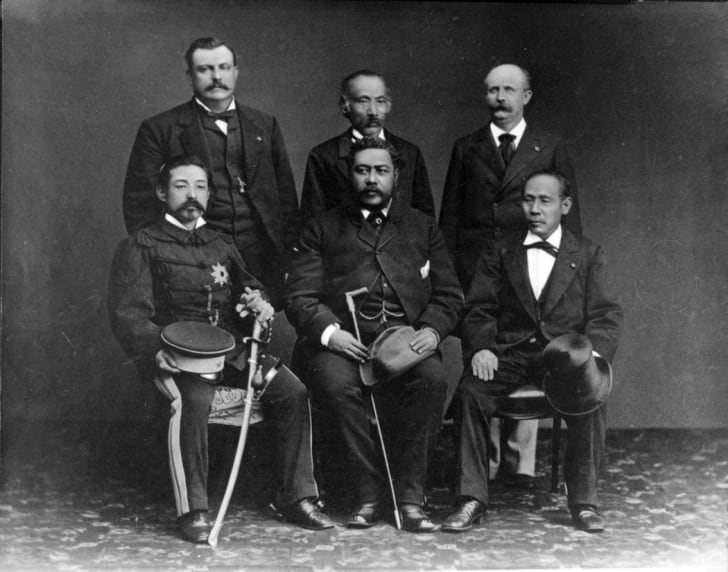An official portrait of King Kalākaua and his aides with Japanese officials.