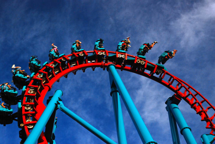 Thrill seekers go upside-down while riding on the Mind Eraser roller coaster in Agawam, Massachusetts