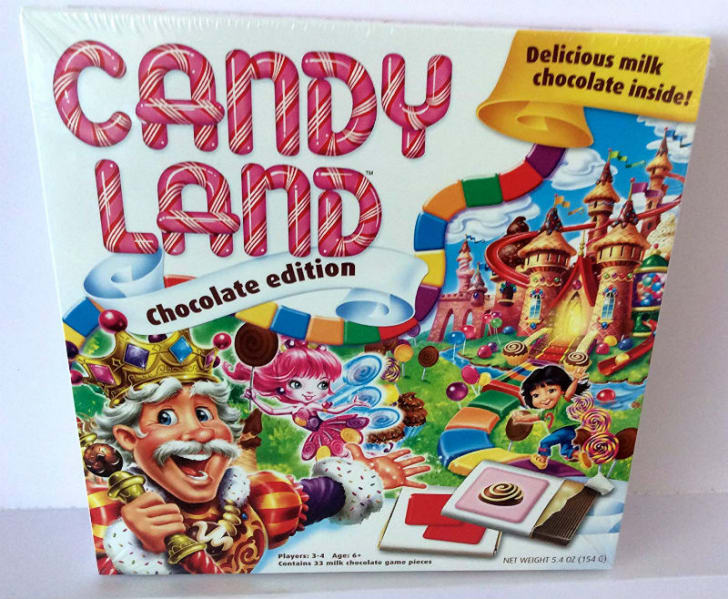 The packaging for the edible chocolate edition of 'Candy Land' is pictured
