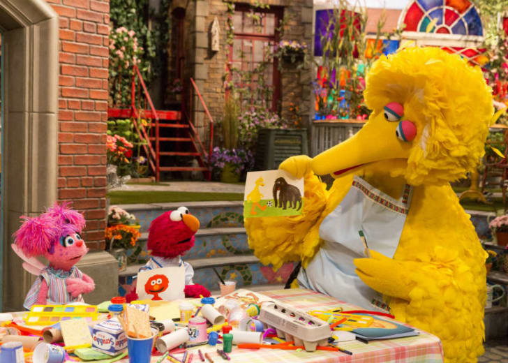 Abby Cadabby, Elmo, and Big Bird (L-R) appear in a scene from 'Sesame Street'