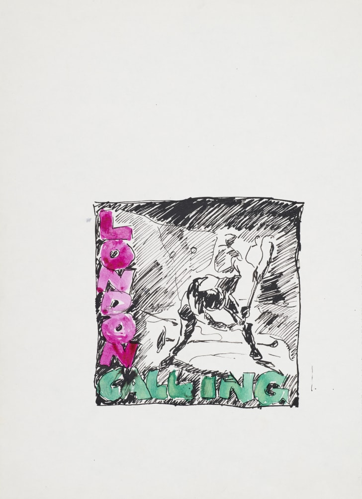 preliminary sketch of the clash's london calling cover album art