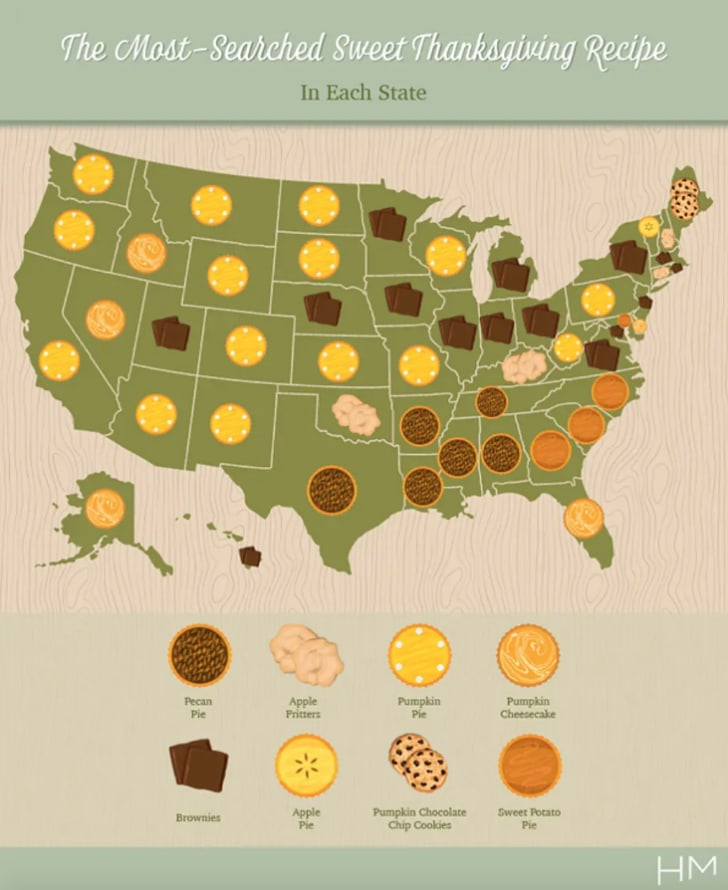 Most popular Thanksgiving desserts map.