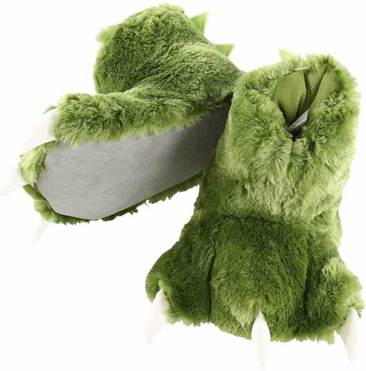 Image of fuzzy green slippers with three plush white claws