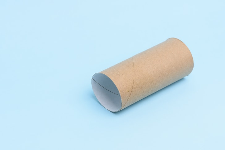 An empty roll of toilet paper on a blue background.
